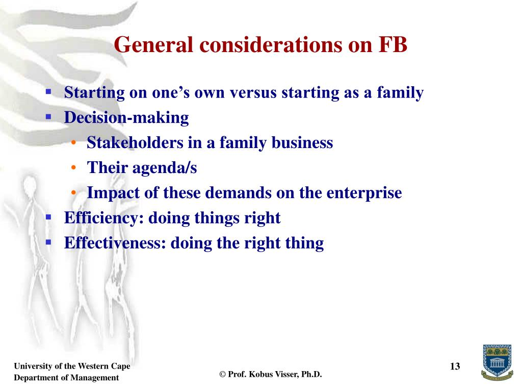 General considerations on FB