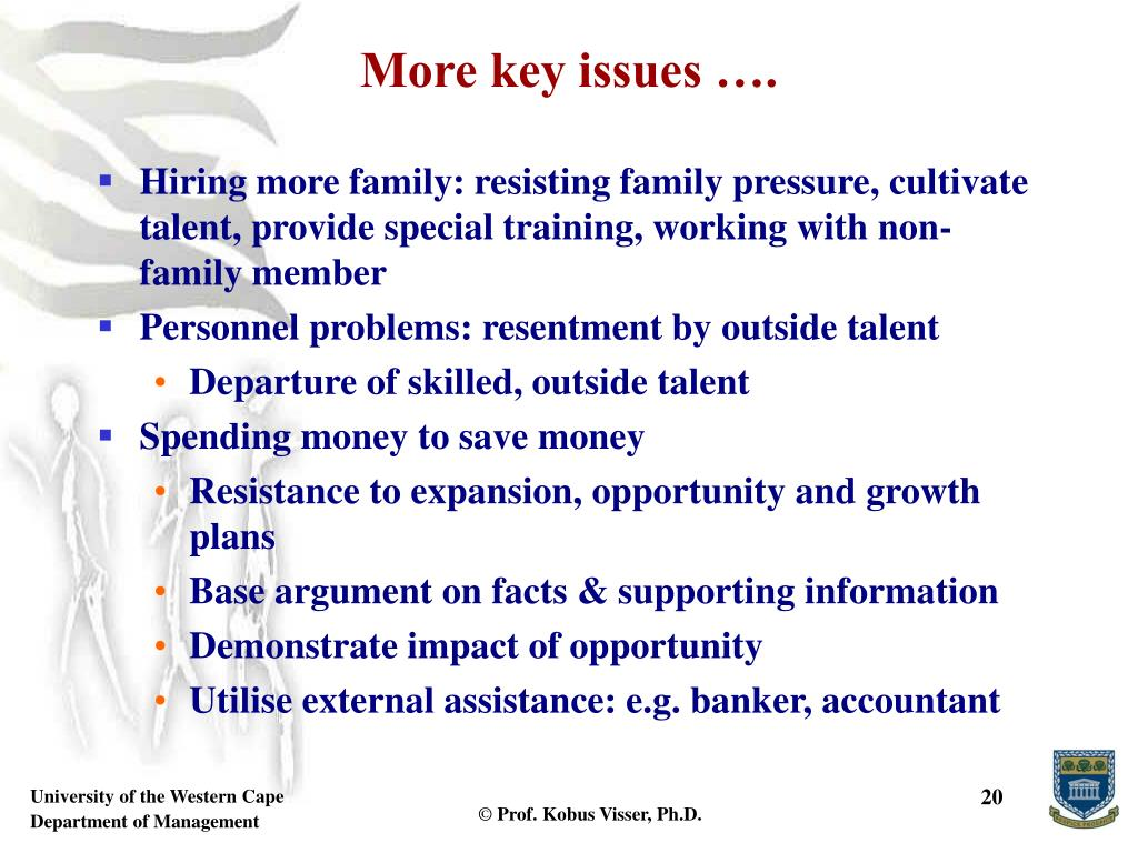 More key issues ….