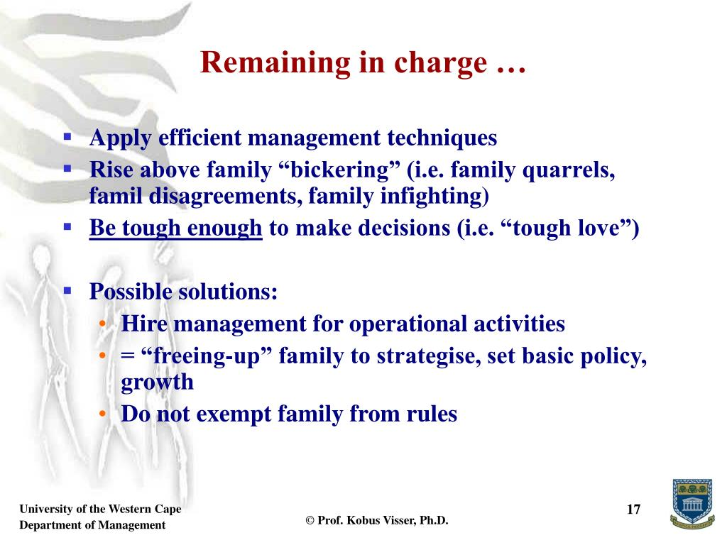 Remaining in charge …