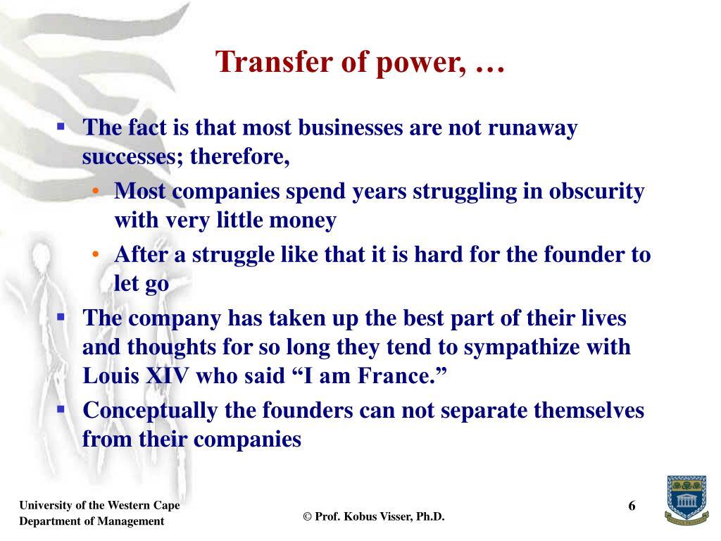 Transfer of power, …