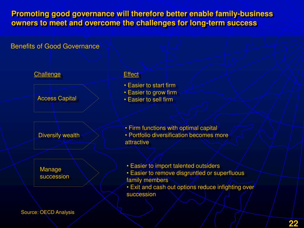 Promoting good governance will therefore better enable family-business owners to meet and overcome the challenges for long-term success