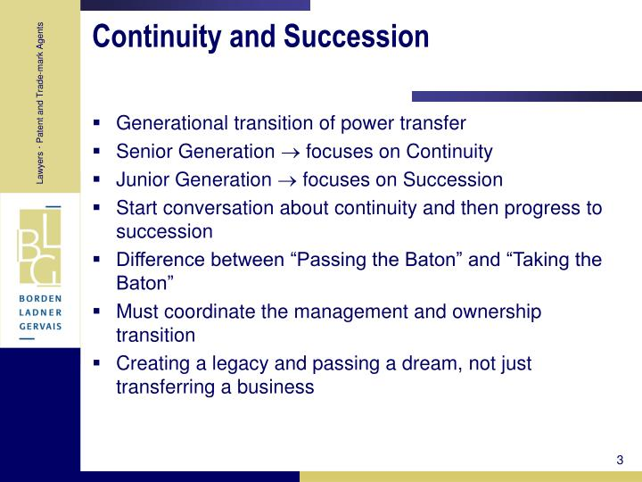 Continuity and succession