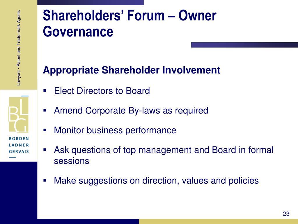 Shareholders' Forum – Owner Governance