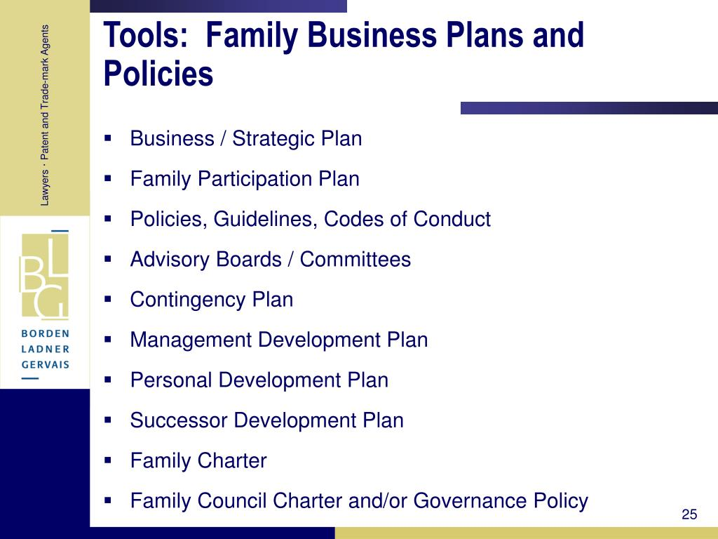 Tools:  Family Business Plans and Policies