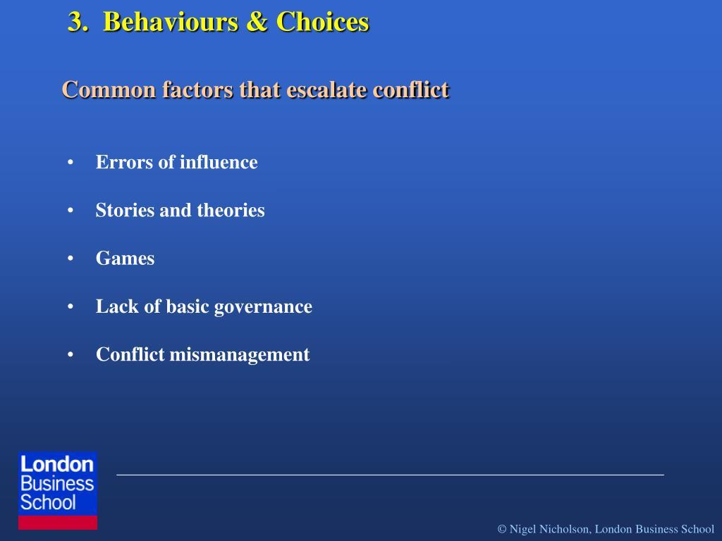 3.  Behaviours & Choices