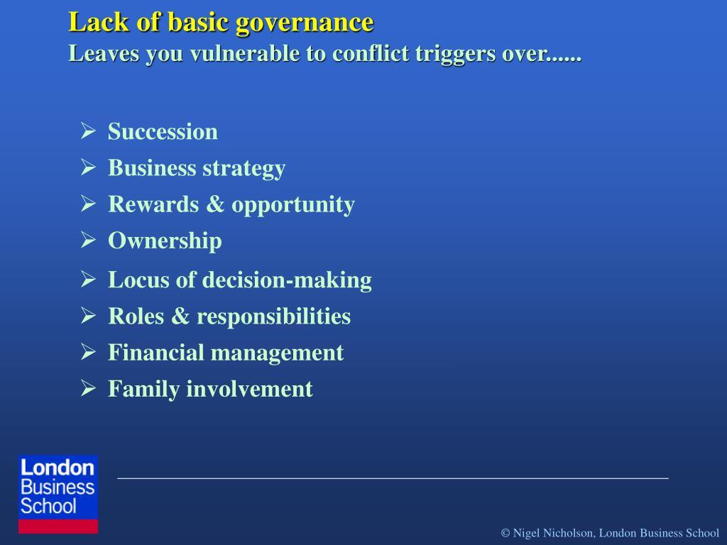 Lack of basic governance