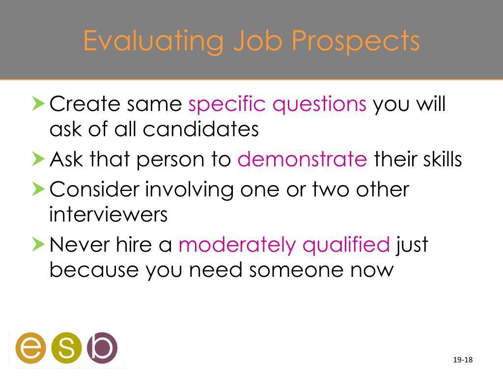 Evaluating Job Prospects