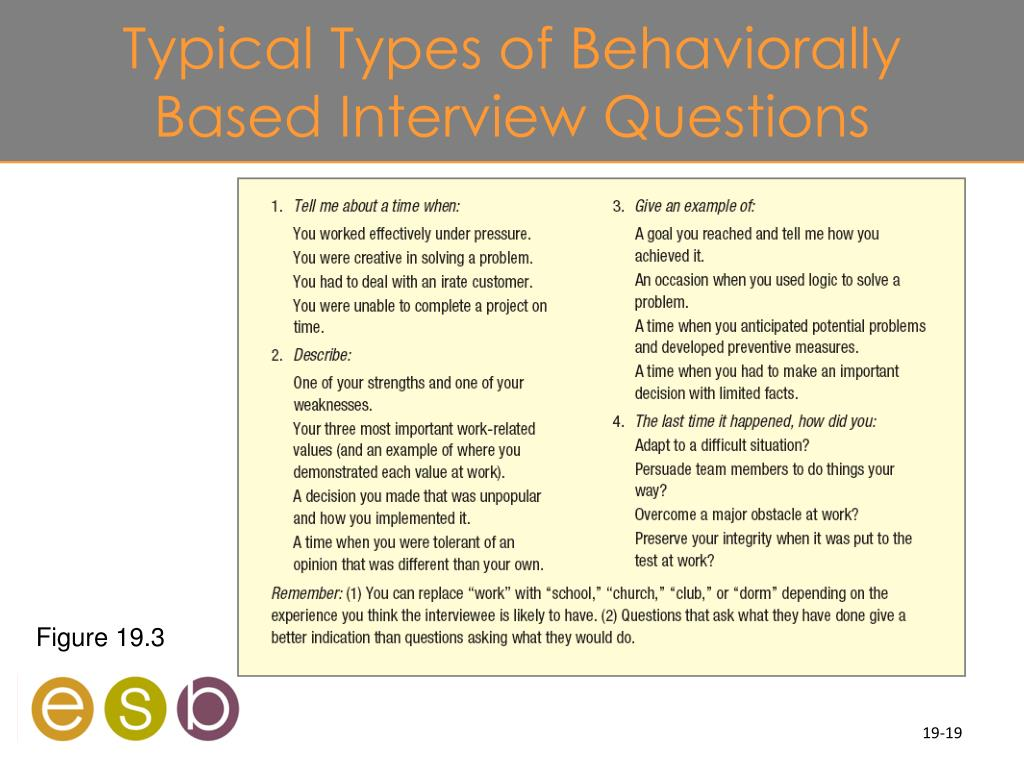 Typical Types of Behaviorally Based Interview Questions