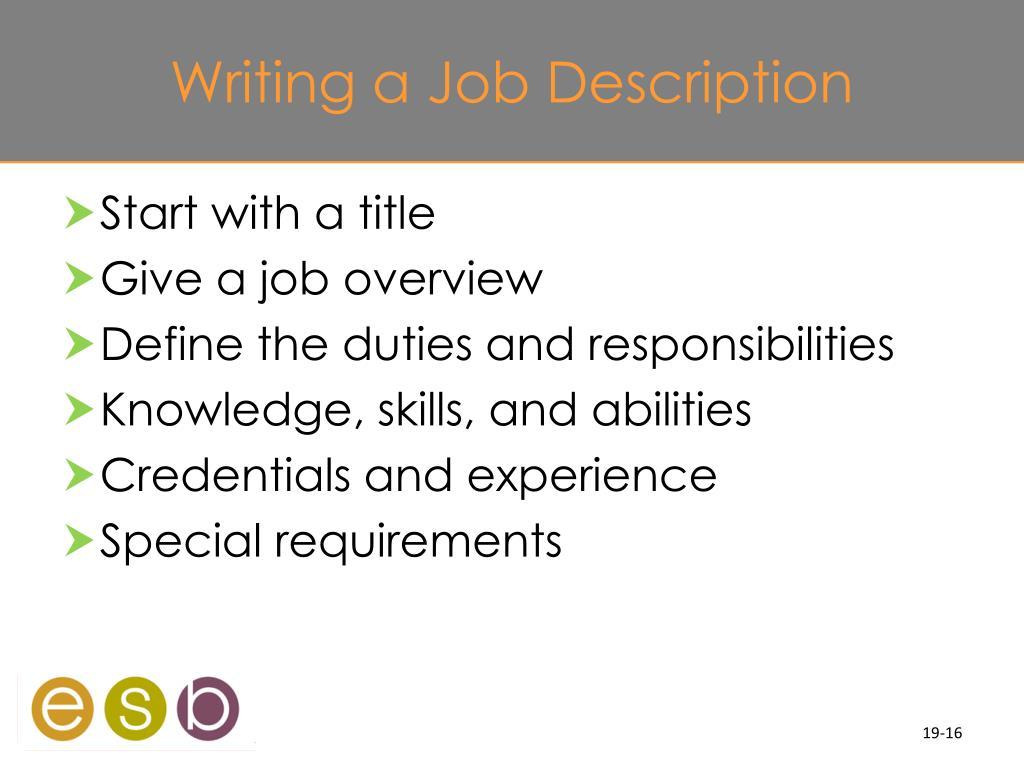 Writing a Job Description