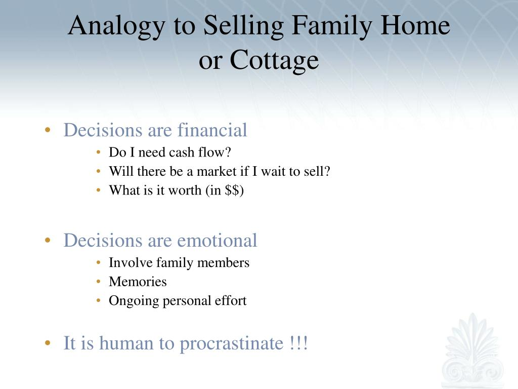 Analogy to Selling Family Home