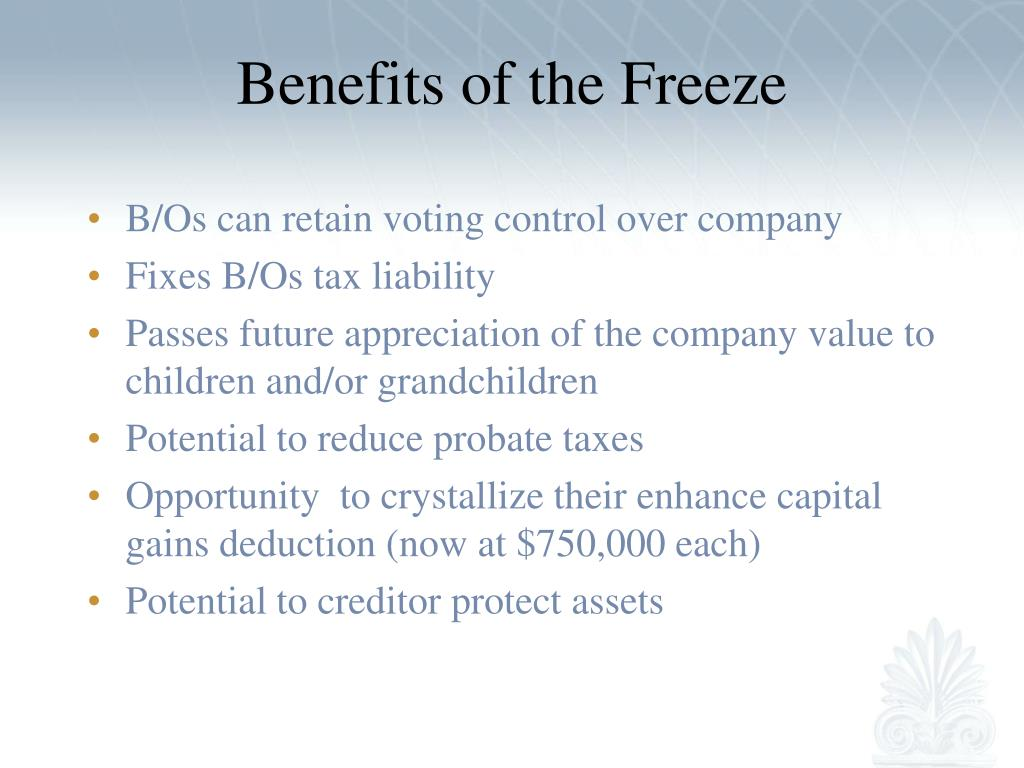 Benefits of the Freeze