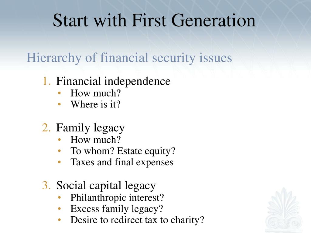 Start with First Generation