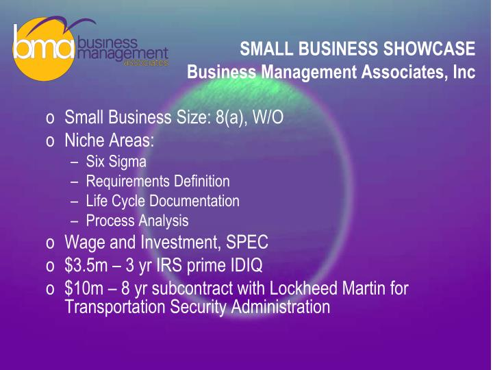 Small business showcase business management associates inc