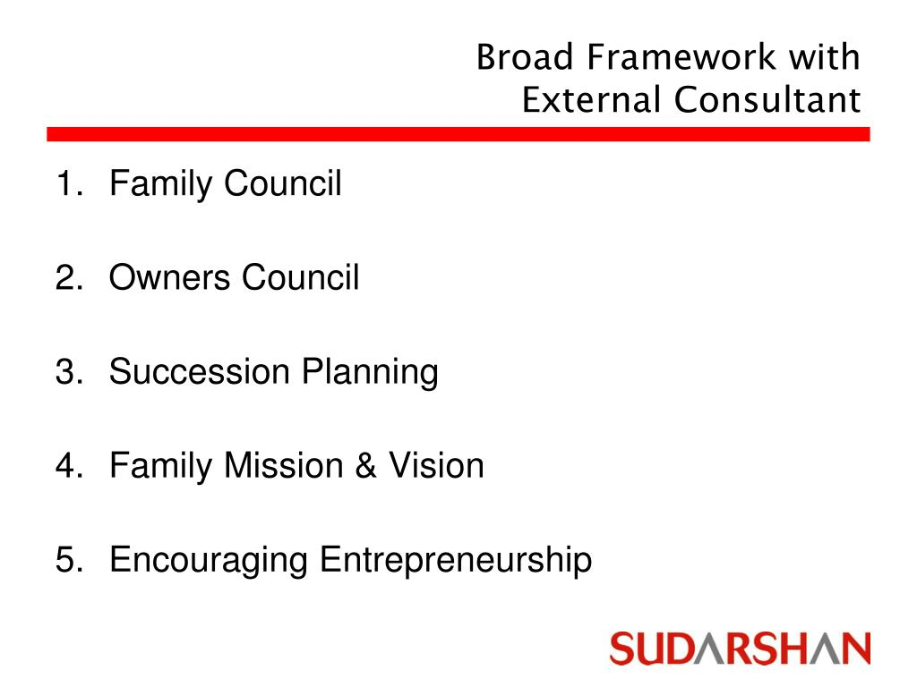 Broad Framework with External Consultant