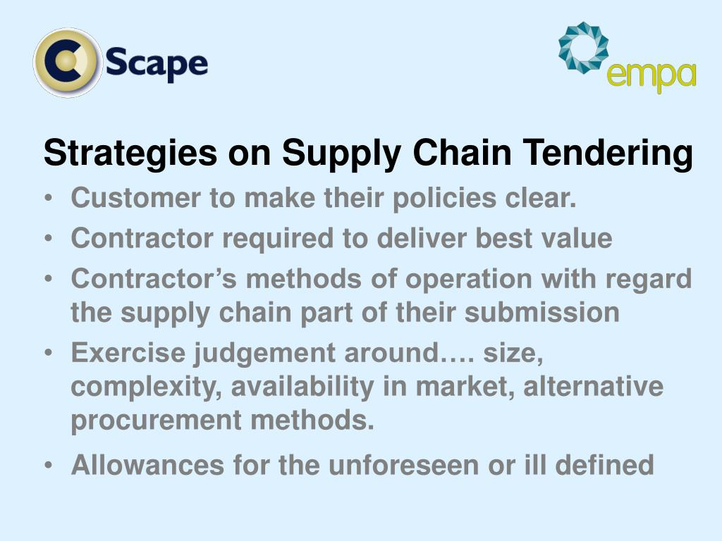 Strategies on Supply Chain Tendering