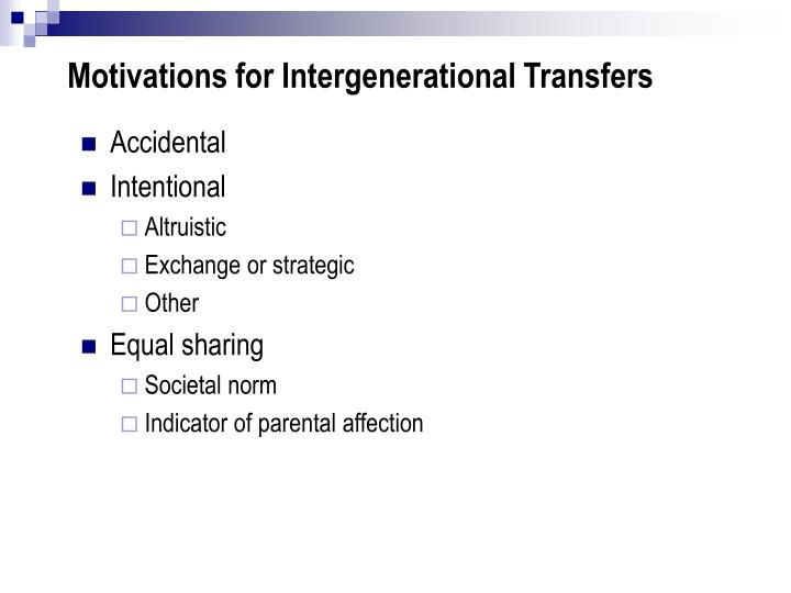 Motivations for intergenerational transfers
