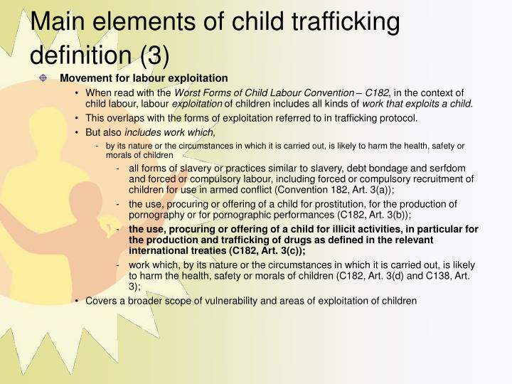 Main elements of child trafficking definition (3)