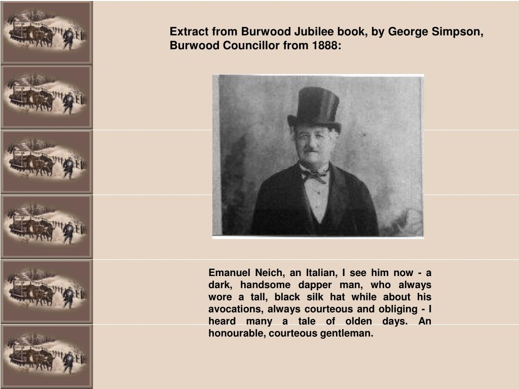 Extract from Burwood Jubilee book, by George Simpson, Burwood Councillor from 1888: