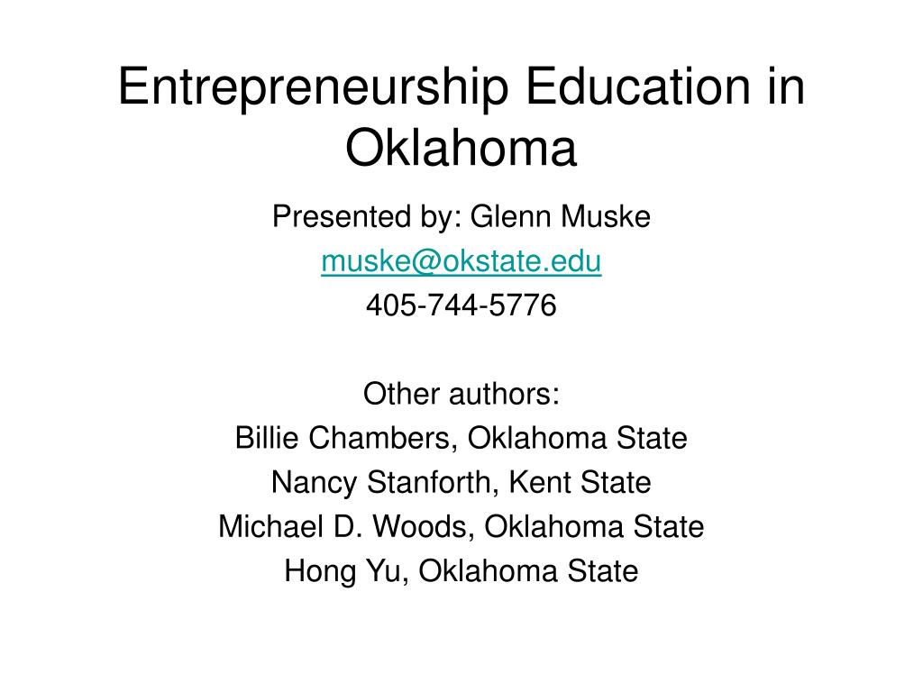 Entrepreneurship Education in Oklahoma