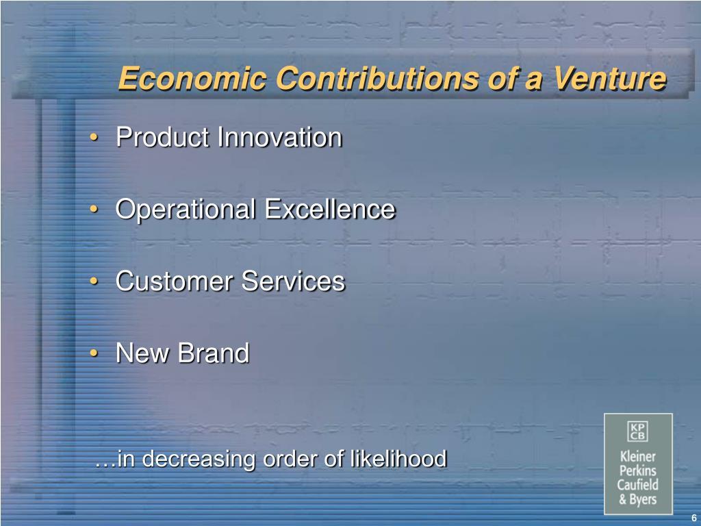 Economic Contributions of a Venture