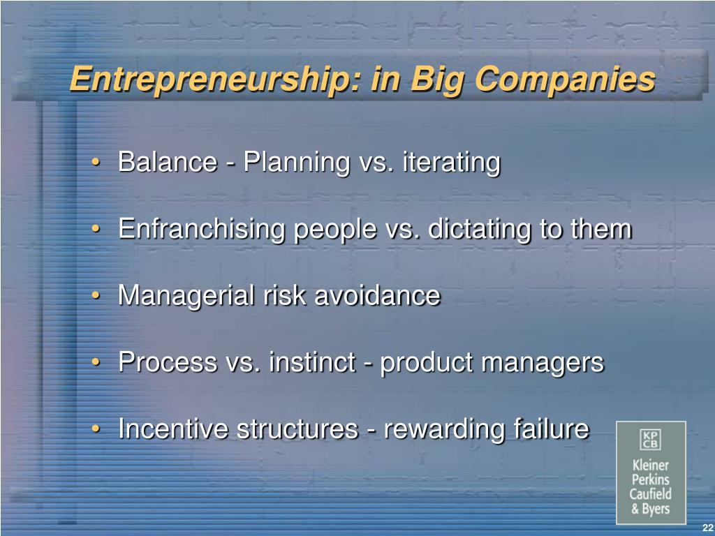 Entrepreneurship: in Big Companies