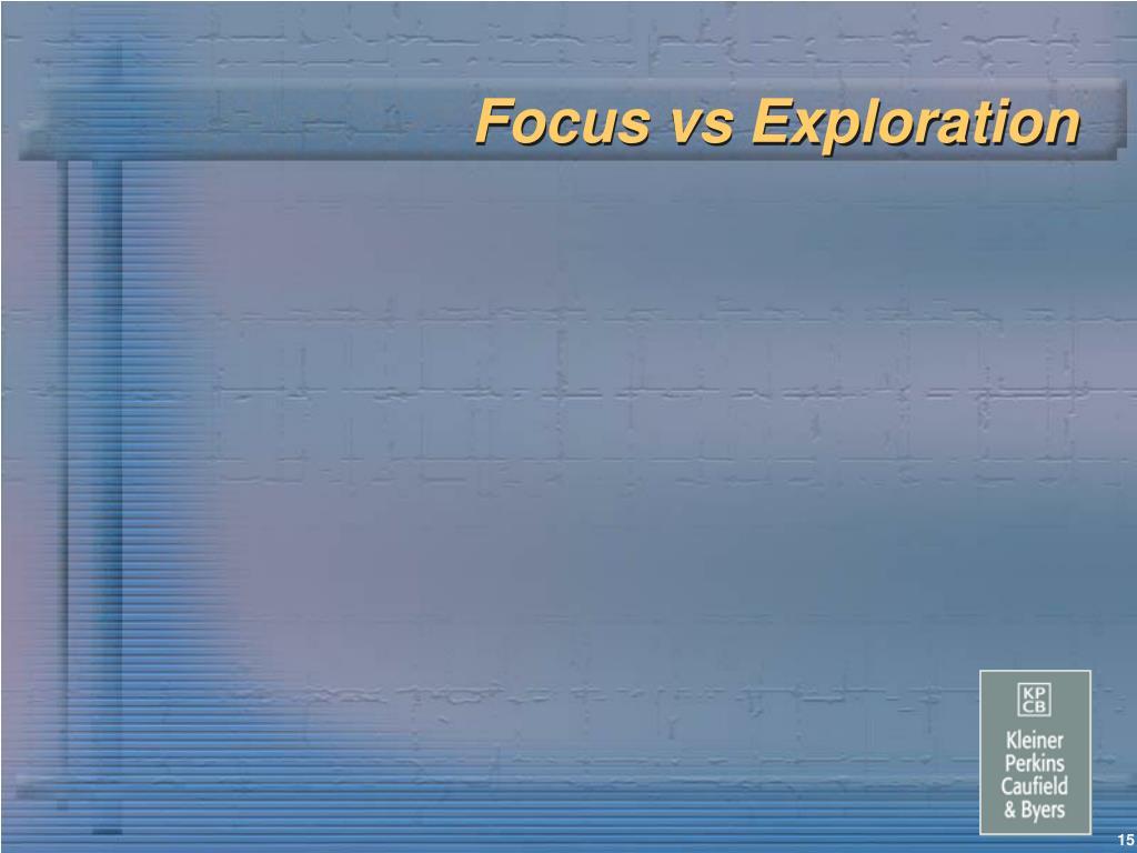 Focus vs Exploration