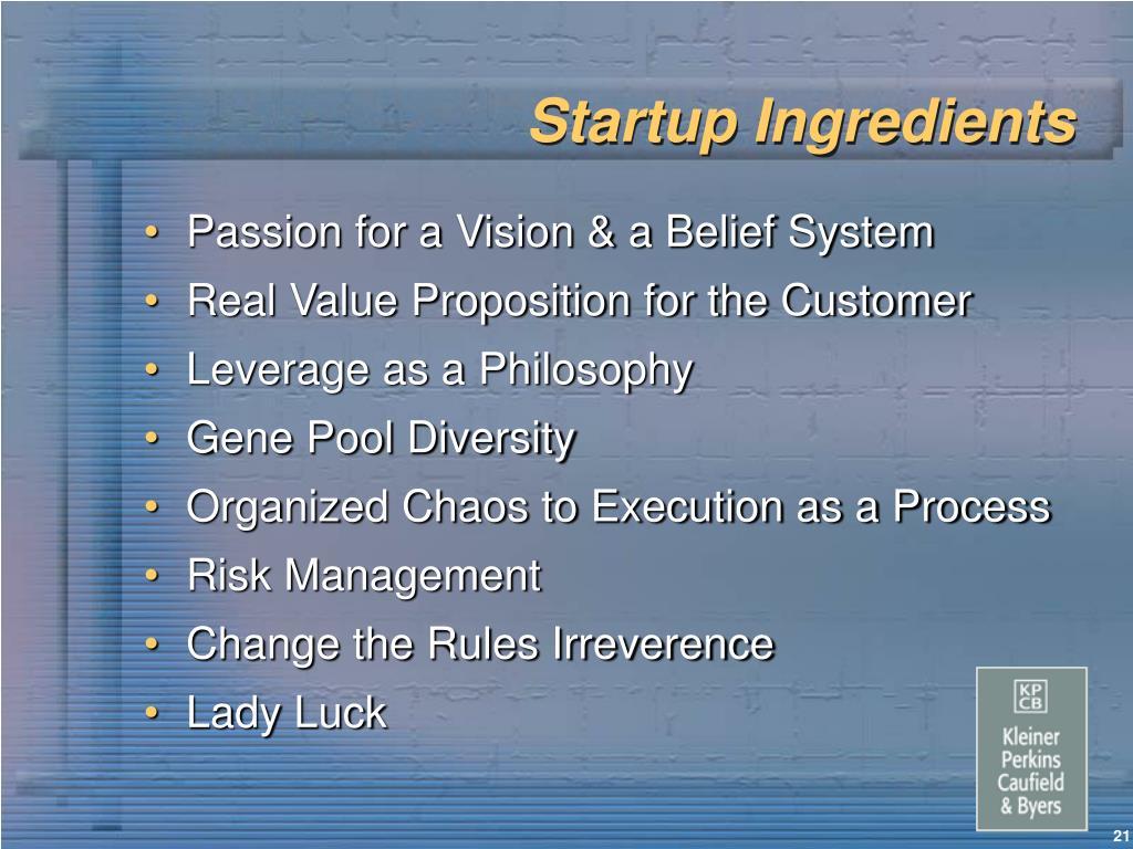 Startup Ingredients