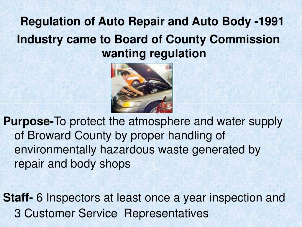 Regulation of Auto Repair and Auto Body -1991
