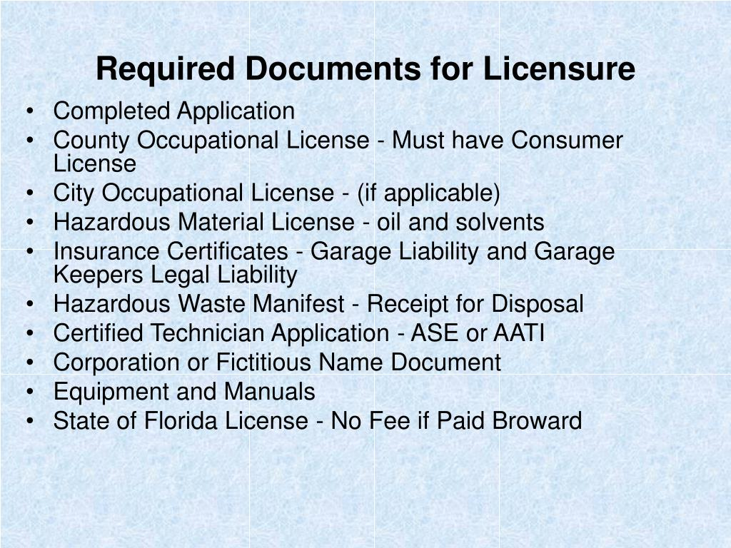 Required Documents for Licensure