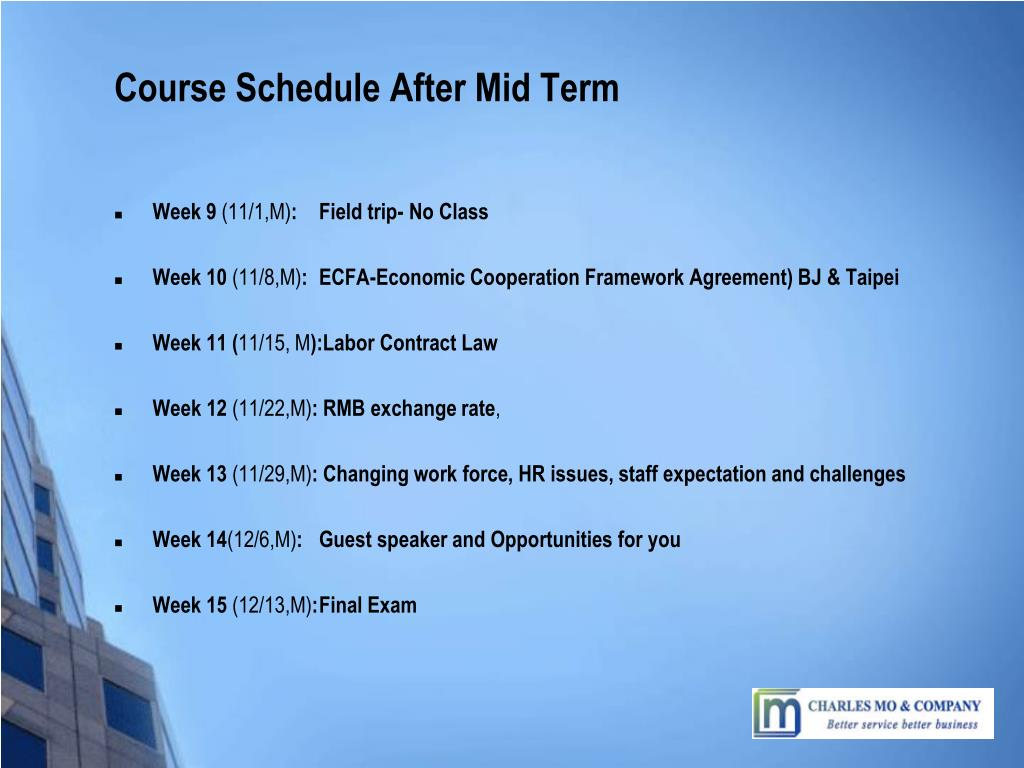 Course Schedule After Mid Term