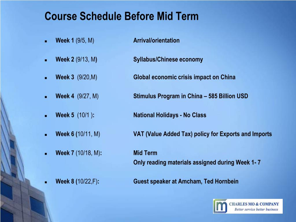Course Schedule Before Mid Term