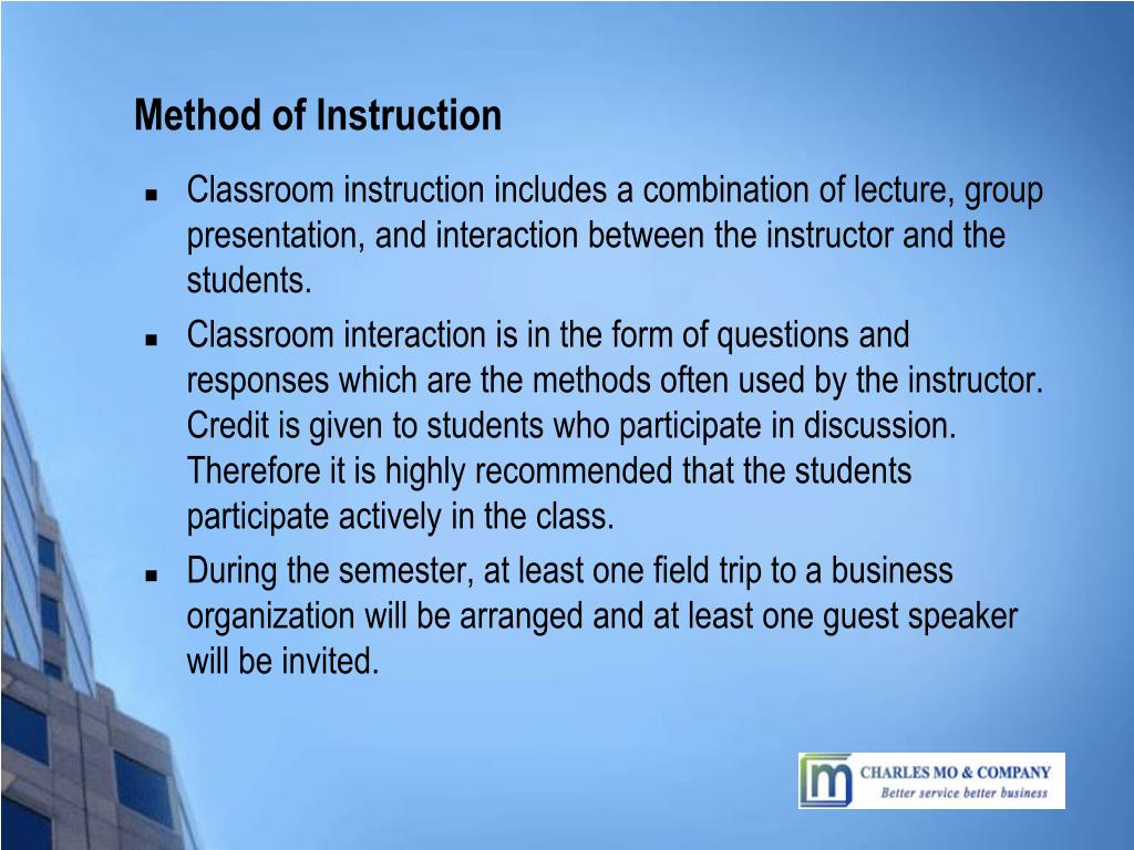 Method of Instruction