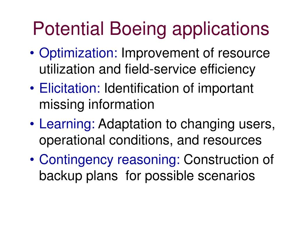 Potential Boeing applications