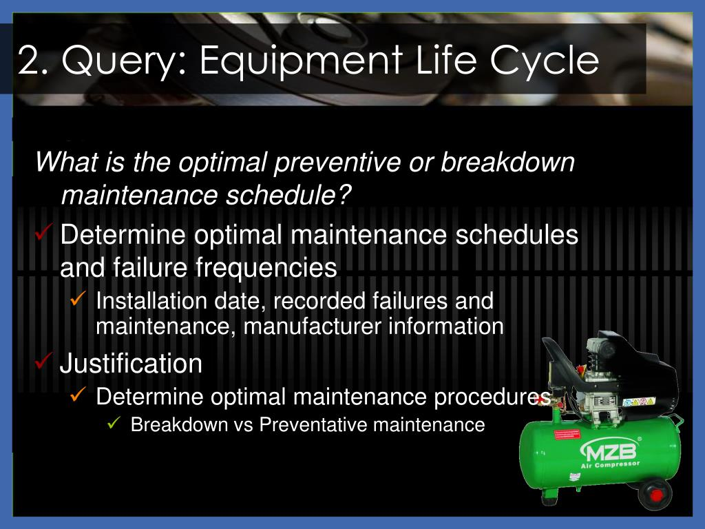 2. Query: Equipment Life Cycle