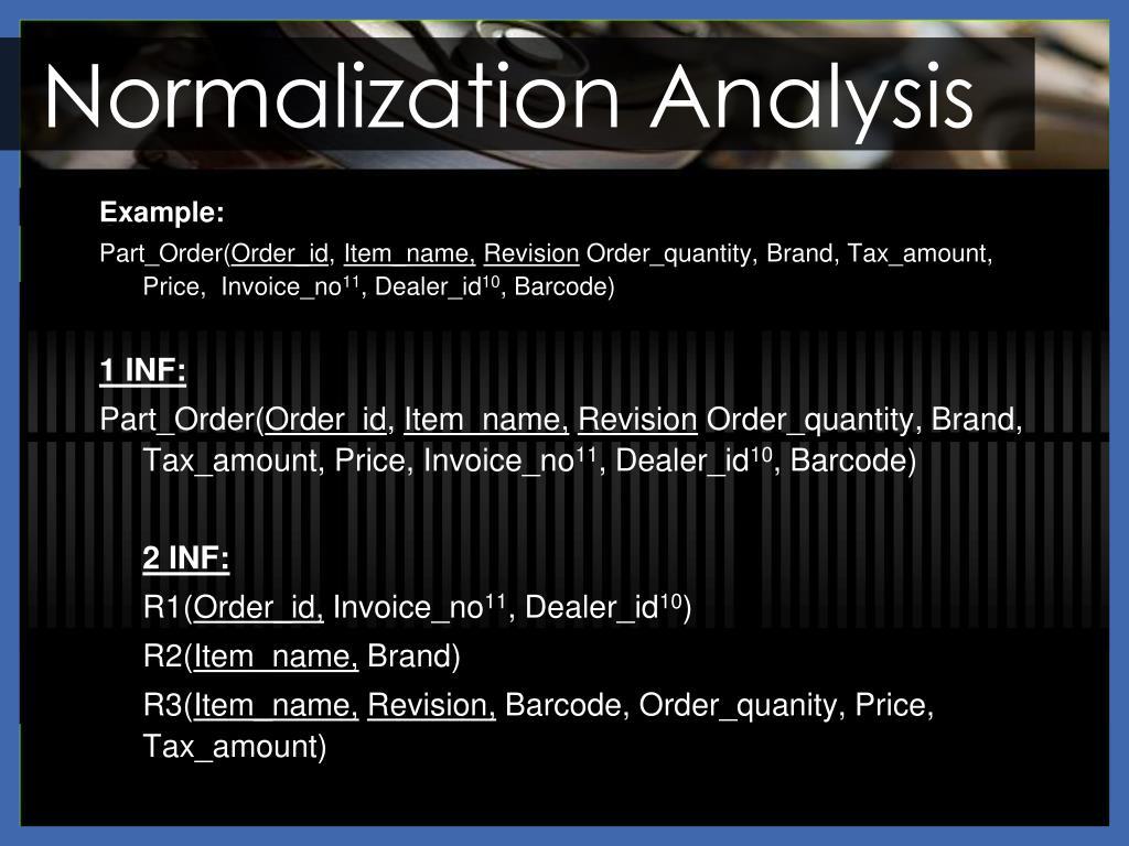 Normalization Analysis