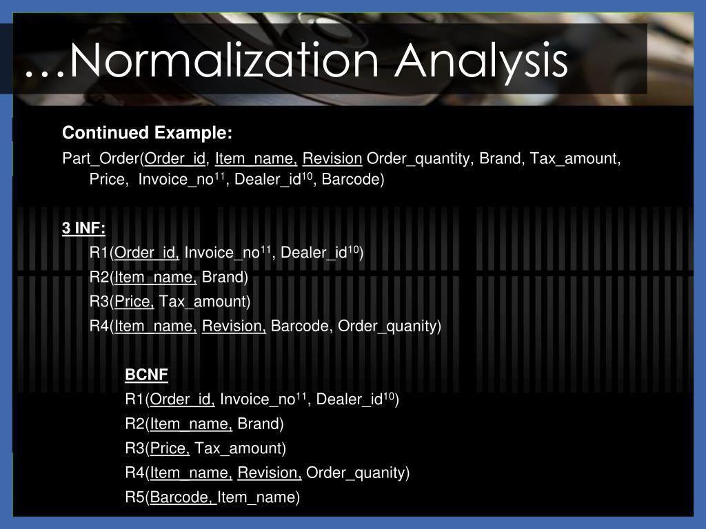 …Normalization Analysis