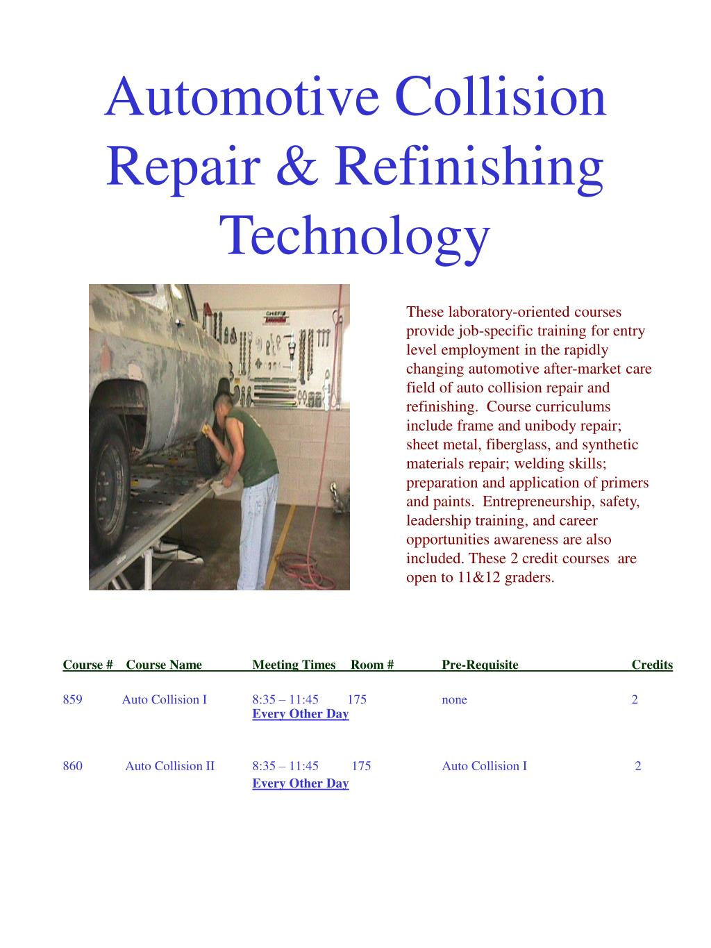 Automotive Collision Repair & Refinishing Technology