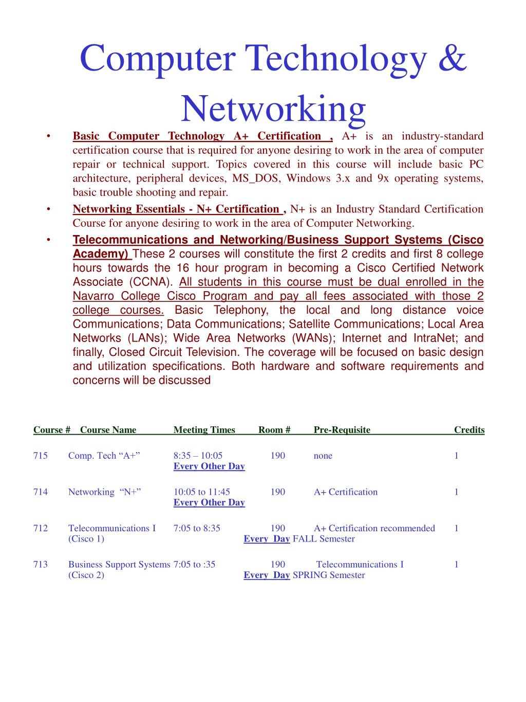 Computer Technology & Networking