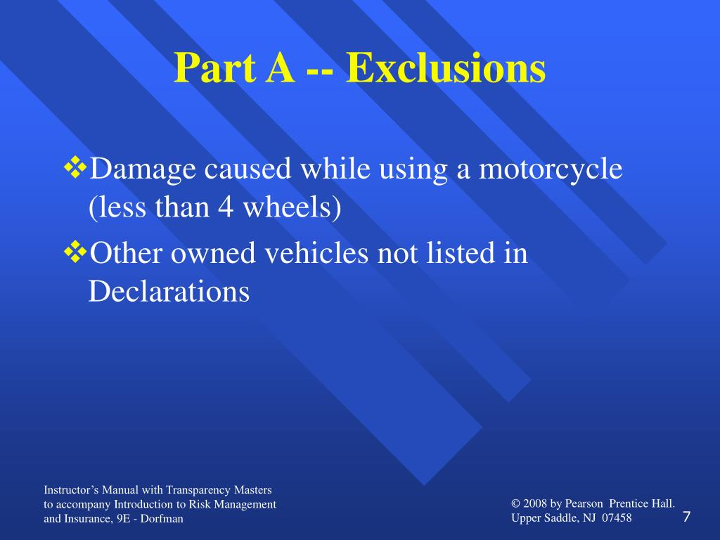 Part A -- Exclusions