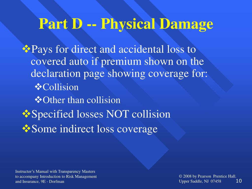 Part D -- Physical Damage