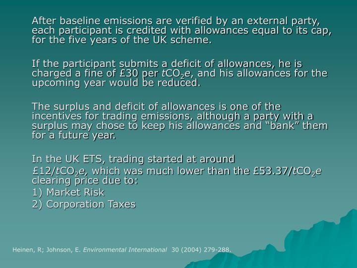 After baseline emissions are verified by an external party, each participant is credited with allowances equal to its cap, for the five years of the UK scheme.
