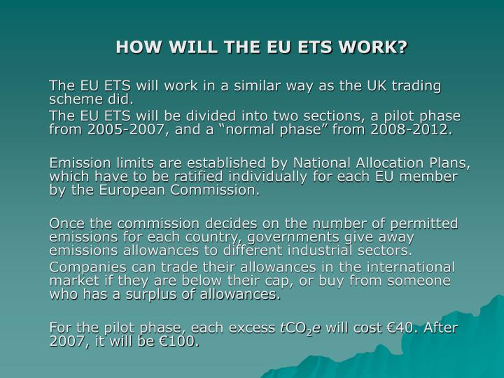 HOW WILL THE EU ETS WORK?