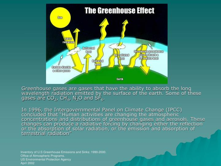 Greenhouse gases are gases that have the ability to absorb the long wavelength radiation emitted by the surface of the earth. Some of these gases are CO