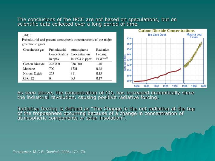The conclusions of the IPCC are not based on speculations, but on scientific data collected over a long period of time.