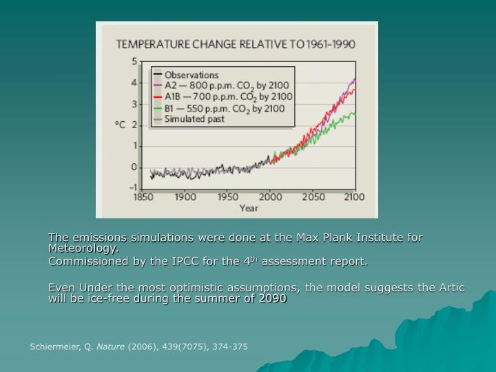 The emissions simulations were done at the Max Plank Institute for Meteorology.