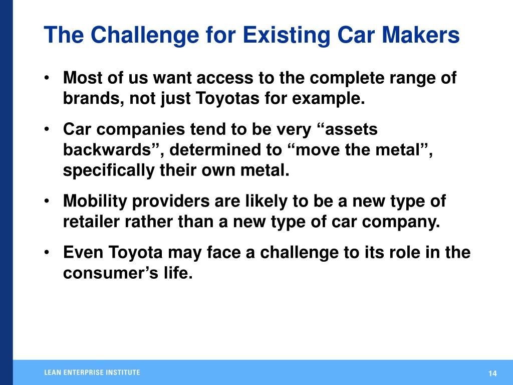 The Challenge for Existing Car Makers