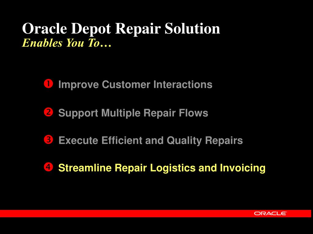 Oracle Depot Repair Solution