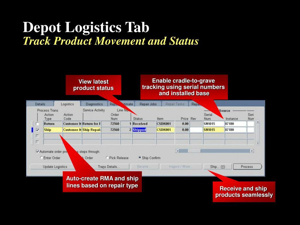 Depot Logistics Tab