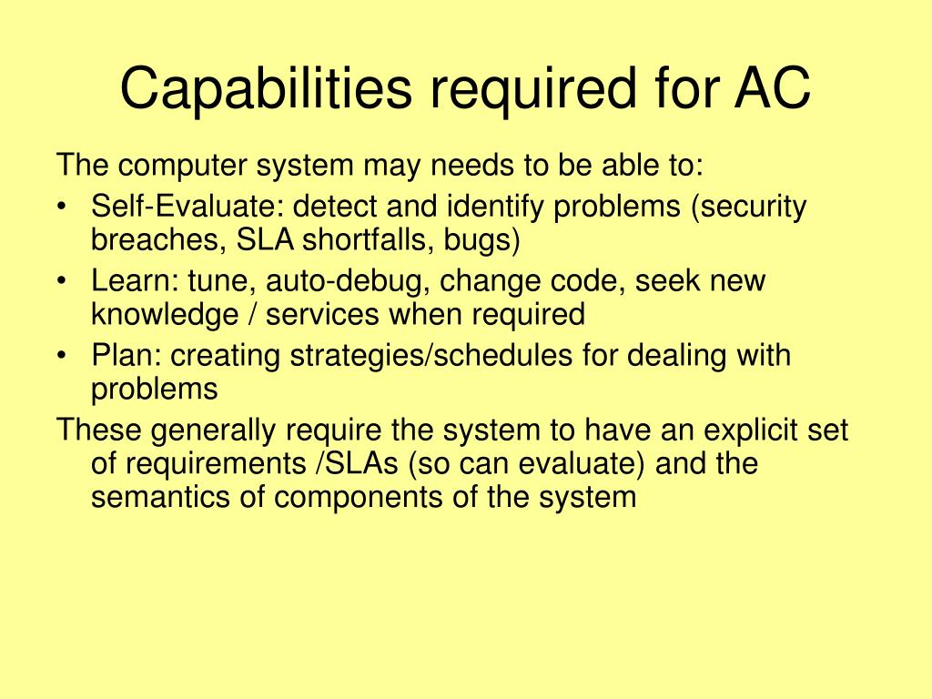Capabilities required for AC