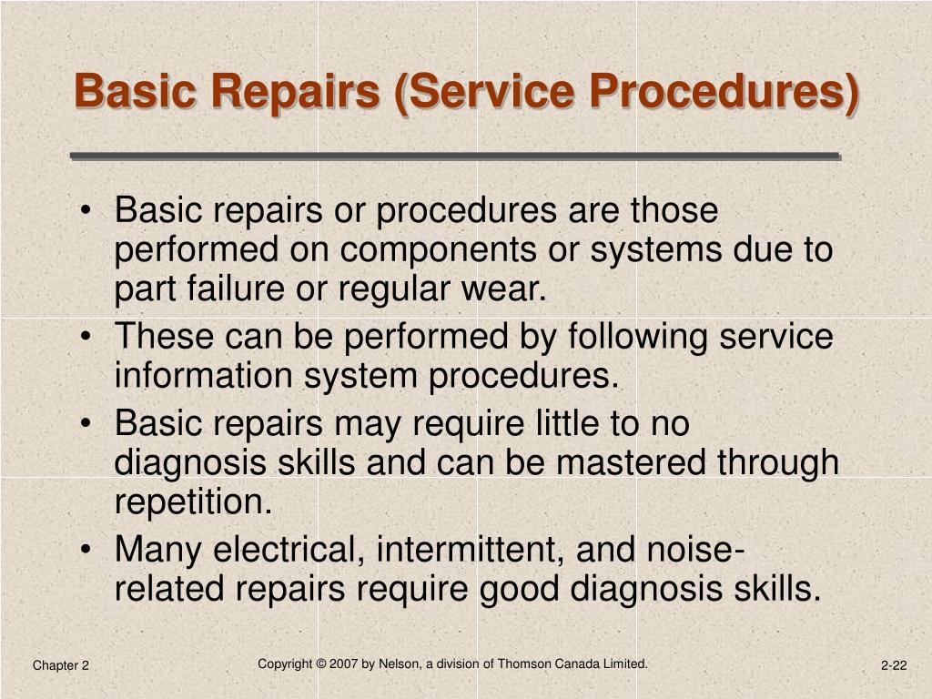 Basic Repairs (Service Procedures)